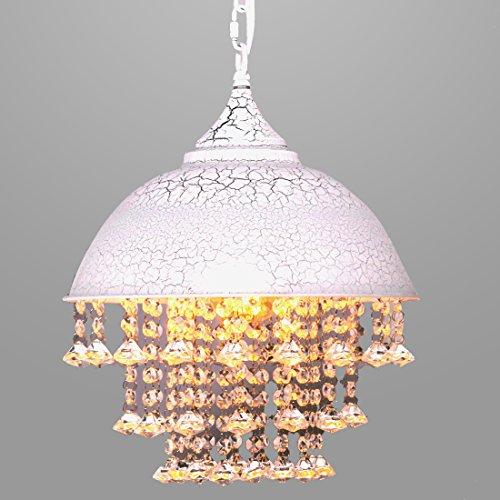 HEBOLEN Industrial Wrought Iron Vintage Retro Crystal Pendant Light, Beads Hanging Bowl Pendant Light Chandelier 1 light Restaurant, Kitchen island(White) by HEBOLEN