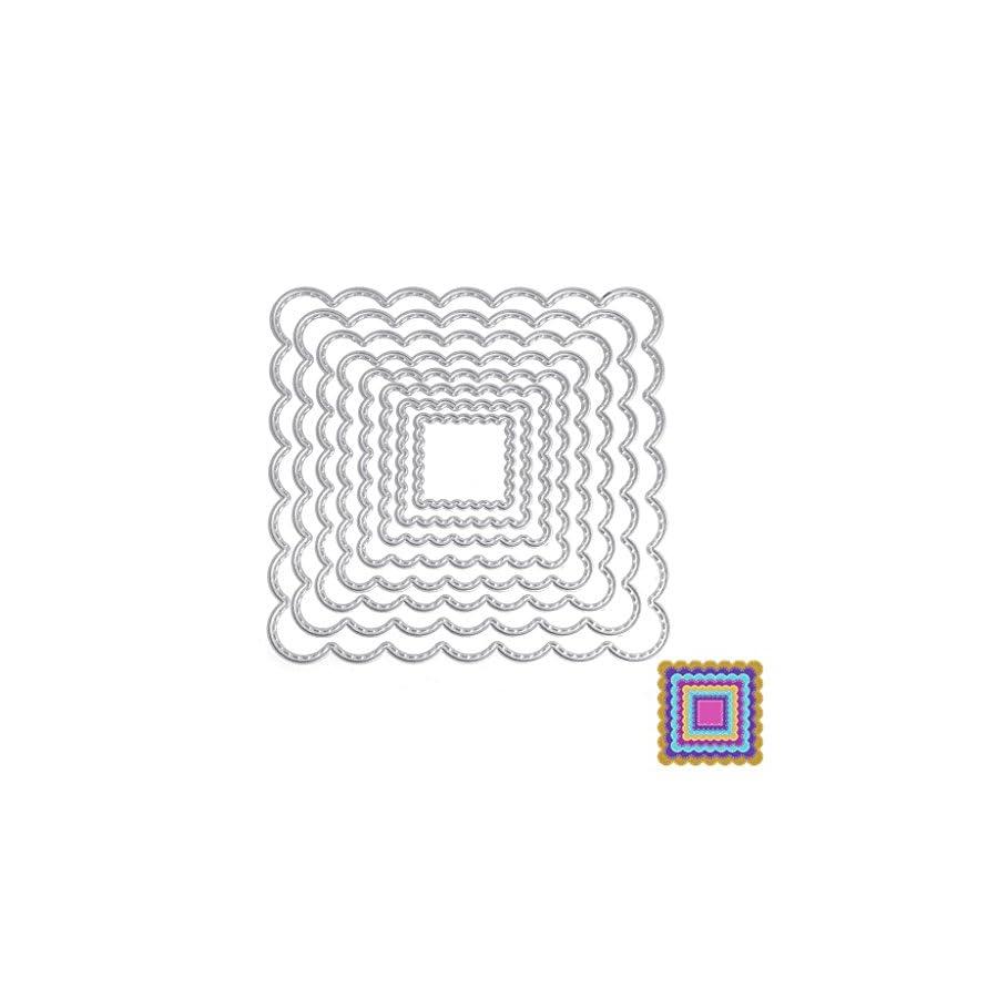 SCASTOE 8pc Square Cutting Dies Stencil Paper Craft Card Making Scrapbooking Album