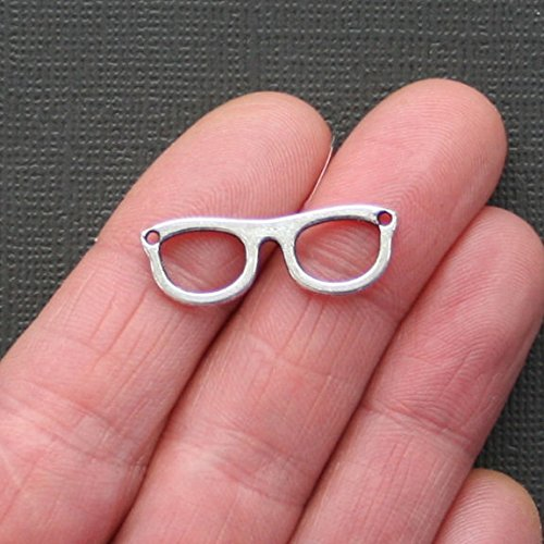 - Extensive Collection of Charm 10 Eyeglass Charms Antique Silver Tone Double Sided Connectors - SC2114 Express Yourself