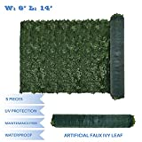 E&K Sunrise 6' x 14' Faux Ivy Privacy Fence Screen with Mesh Back-Artificial Leaf Vine Hedge Outdoor Decor-Garden Backyard Decoration Panels Fence Cover - Set of 5