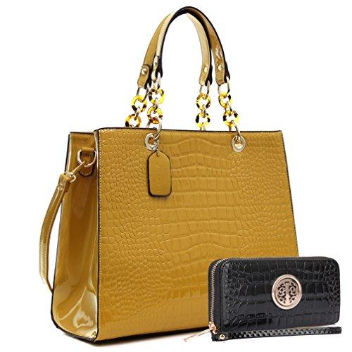 MMK collection Fashion Packlock Handbag for Women` Signature fashion Designer Purse with spring colors~Perfect Women Satchel Purse ~ Beautiful Designer handbag &purse (KK-03-174(10-168)-Yellow/Brown) (Yellow Handbag Designer)