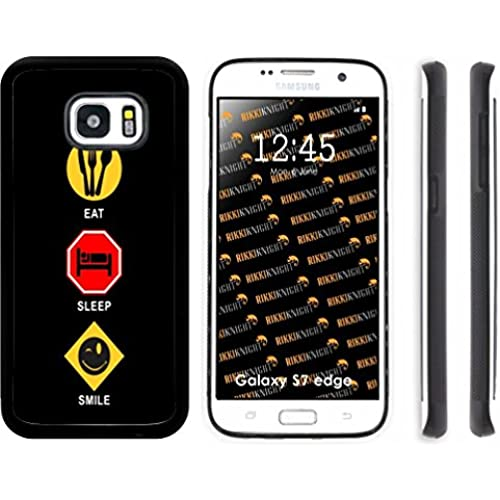 Rikki Knight Eat Sleep Smile Design Samsung Galaxy S7 Edge Case Cover (Black Rubber with front Bumper Protection Sales