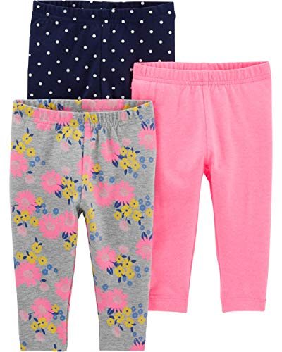 Simple Joys by Carter's Baby Girls' Toddler 3-Pack Leggings, Pink/Blue Dot/Floral, 4T