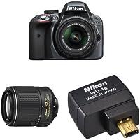 Nikon D3300 DX-Format DSLR Camera (Grey) with 18-55mm + 55-200mm Lenses Wi-Fi Bundle