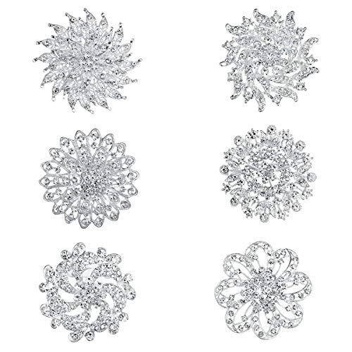 WeimanJewelry White Gold Plated Lot 6pcs Crystal Rhinestones Flower Brooch Pin Set for DIY Wedding Bouquets Decoration