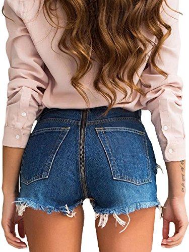 Back Zip Denim Shorts - 4