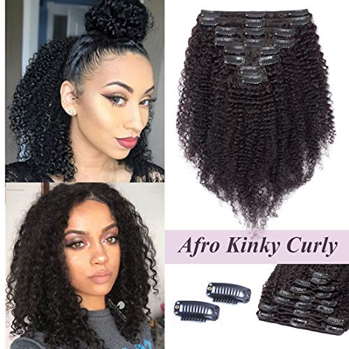 S-noilite 16Inch Kinky Curly Clip in Human Hair Extensions for Black Women Afro Kinky Curly Remy Human Hair Extensions for African American Lady Double Weft Full Head #Natural Black 8PCS/18Clips/Set