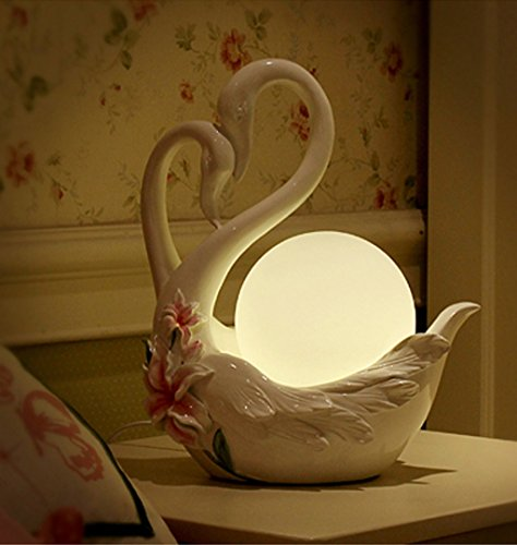 Swan Bench - Creative bedroom bedside table swan table lamp high - end European wedding room wedding light Push Button Switch
