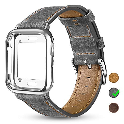 - OULUOQI Leather Bands Compatible with Apple Watch 42mm 44mm with Soft Protective Case, Classic Business Genuine Leather Bands for iWatch Strap Series 4/3/2/1