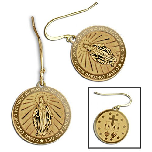 Miraculous Medal Double-Sided Earrings - 15mm - 14K Yellow Gold ()