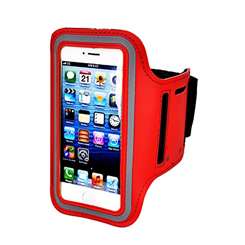 Armband Screen Ipod Protector Nano (Armband For iPhone 8/8plus/7/6/6S Plus,Galaxy s8 s7 s6 Edge s8+,Note 5.etc.CaseHQ Adjustable Reflective Velcro Sport Exercise Running Pouch Key Holder,Screen Protector-Hiking,Biking,Walking(red))