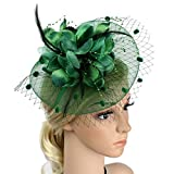 ACTLATI Charming Big Flower Headband Netting Mesh Hair Band Cocktail Hat Party Girls Women Fascinator Deep Green