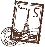 Style & Apply - Paris Stamp with Eiffel Tower - highest quality wall decal, sticker, mural vinyl art home decor - 3922