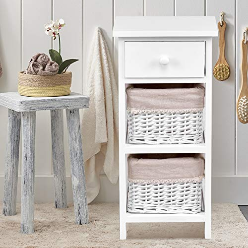 Giantex Wooden Nightstand Chest Cabinet W/Two Rattan Baskets for Bedroom Home Furniture Storage Bedside End Table (2, White)
