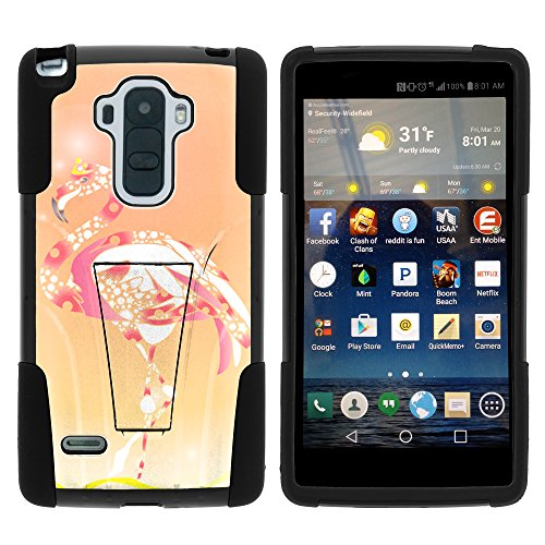 LG G Stylo Phone Case, Durable Hybrid STRIKE Impact Kickstand Case with Art Pattern Designs for LG G Stylo LS770, LG G4 Stylus (T Mobile, Boost Mobile, Sprint) from MINITURTLE | Includes Clear Screen Protector and Stylus Pen - Flamingo