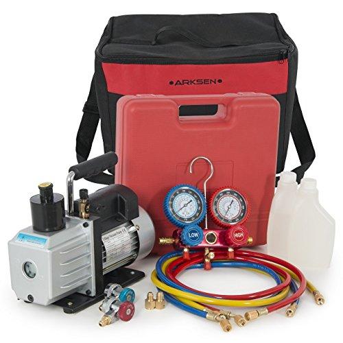 Vane Motor Standard Rotary Pump - ARKSEN 5CFM Single Stage Vacuum Pump A/C HVAC Manifold Gauge for (R134a) Carrying Tote, Set