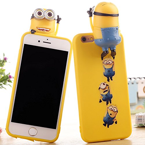 Despicable Me Minions Doll Case With Strap for iPhone 6 6s iPhone6 iPhone6s Regular Size Soft Silicone Gel Rubber 3D Cartoon M3 Shockproof Protective Cool Fun Cute Gift Girls Teens Kids Boys Yellow