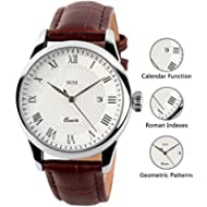 Mens Analog Quartz Wrist Watch - Classic Casual Watch with Brown Leather Band Large Face Watches...