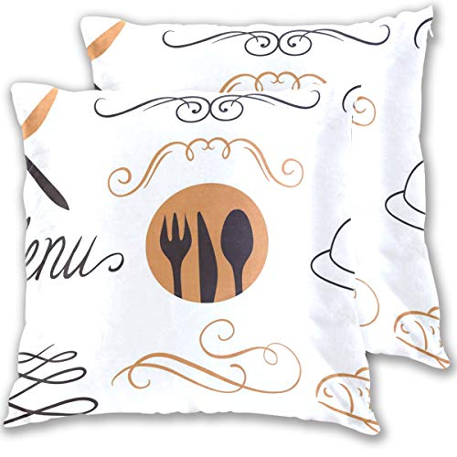 Hotel Menu Pattern Throw Pillow Cover, Cotton Square Home Decor Pillowcases for Sofa Bedroom Car, Set of 2 (18