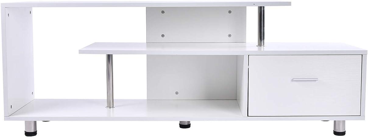 HOMCOM Mesas de TV Mueble de Comedor para Televisor Soporte de TV 152x40x60.5cm Mesa Forma G con Estante Cajón Blanco: Amazon.es: Juguetes y juegos