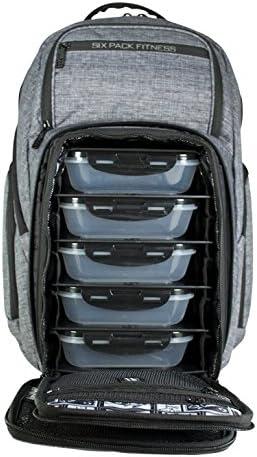 6 Pack Fitness Expedition mochila 500 tiendas portátil, suplementos, 5 comidas, botellas y mucho más. comida Prep mochila, bolsa de gestión de comida, viene con 5 contenedores de seguro de sellado, 1