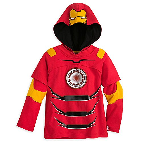 Sleeve Layered Tee Long Hooded (Marvel Iron Man Double-Up Long Sleeve Hooded Tee for Boys Size 7/8 Red)