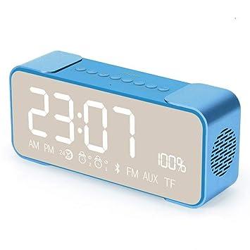CHULENI Altavoz Bluetooth Inalámbrico Bajo Teléfono Pequeño Termómetro Mini Humedad Reloj Despertador Digital Luz Nocturna Oficina