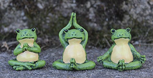 Giftcraft Set of 3 Miniature Fairy Garden Yoga Frogs - Lo...
