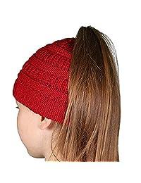COMVIP Women Children Ponytail Messy Bun Beanie Solid Knitted Warm Hat