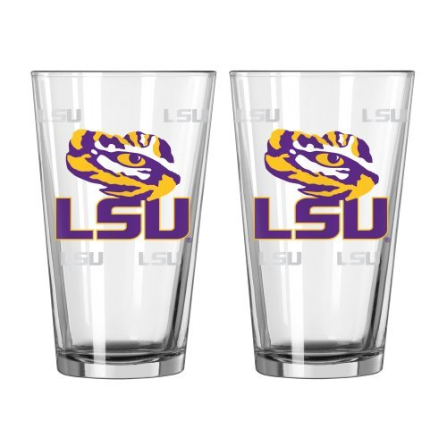 (NCAA Louisiana State -Satin Etched Pint Glasses (2)   LSU Tigers 16 oz. Beer Pints - Set of 2)