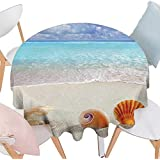 "Cheery-Home Round Polyester Tablecloth Suitable All Occasions,(153"" Round Seashells Decor Shells Pearl Clam Snail Tropic Sun Seaside Coastline Honeymoon Seashells On The Sand Beach."
