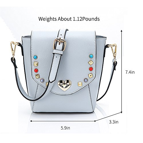 Teen Leather Women Mini PU Girls Message Small Handbags Universal Pink Light Strap Shoulder with Bag for Adjustable Blue YsinoBear Shoulder fRYZww