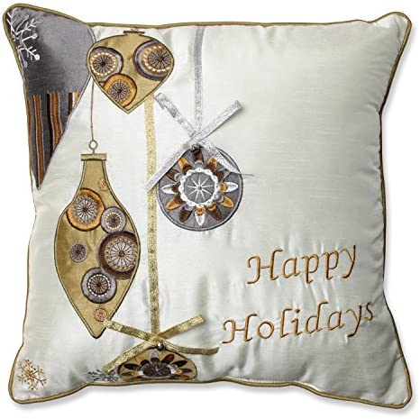 Pillow Perfect Holiday Ornaments Throw Pillow, 16.5-Inch, Gold Silver