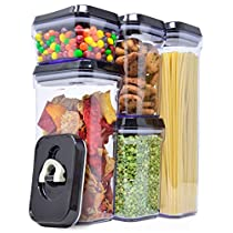 Royal Air-Tight Food Storage Container Set - 5-Piece Set - Durable Plastic - BPA Free - Clear with Black Lids