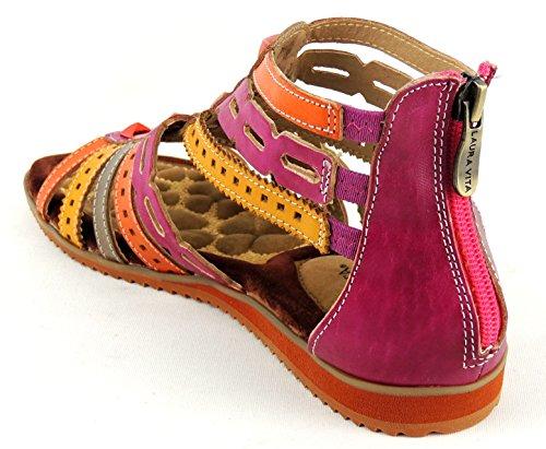 LAURA VITA ESTELLE Damen Sandalette LEDER Reißverschluss hinten (38 EU, fushia)