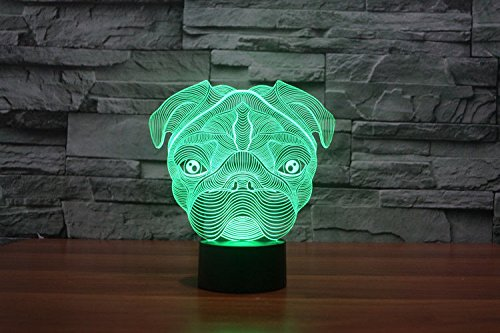 3D Sharpei Puppy Bulldog Dog Animal Night Light 7 Color Change LED Table Desk Lamp Acrylic Flat ABS Base USB Charger Home Decoration Toy Brithday Xmas Kid Children Gift by FXUS (Image #4)