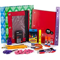 Walla Back To School Bundle Pack With Notebook & Crayons, Glue Sticks, Pink Erasers, Pencils, Pens, Calculator, Ruler, Highlighter Marker