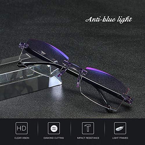 フレームレス老眼鏡 スマートズーム| 男性 軽量でスタイリッシュ アンチブルーライト リーダーメガネ
