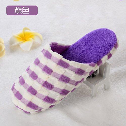 Y-Hui Bump zapatillas, zapatillas de algodón, cuadrado de color casa remolque algodón,4445,violeta