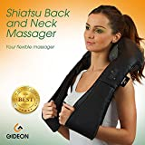 Gideon™ Portable Shiatsu Massager for Back, Neck, Shoulder and Feet with Therapeutic Heat/Multi-Directional Massage, Relax, Sooth and Relieve Neck, Shoulder, Back and foot Pain