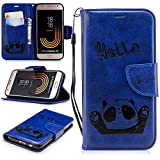 Misteem Cartoon Case Samsung Galaxy J3 2017, Cute Retro Panda Pattern Leather Cases Flip Shockproof Card Holder Bookstyle/Stand / Magnetic Wallet Cover Protector Samsung Galaxy J3 2017 - Panda Blue
