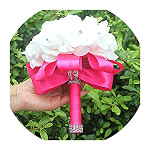 Cheapest PE Rose Bridesmaid Wedding Foam Flowers Rose Bridal Bouquet Ribbon Fake Wedding Bouquet de Noiva 14 Color,Hot Pink D 3