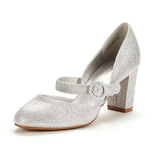 DREAM PAIRS Women's Charleen Silver Glitter Classic Fashion Closed Toe High Heel Dress Pumps Shoes Size 11 M US