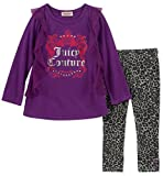 Juicy Couture Girls' Big 2 Pieces Tunic Legging Set, Purple/Gray 8/10