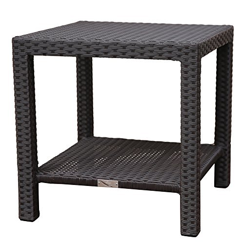 Abba Patio Outdoor Wicker Square Side Table with Storage, 20''W x 20''D x 20''H, Dark Brown (Aluminum Outdoor End Table)