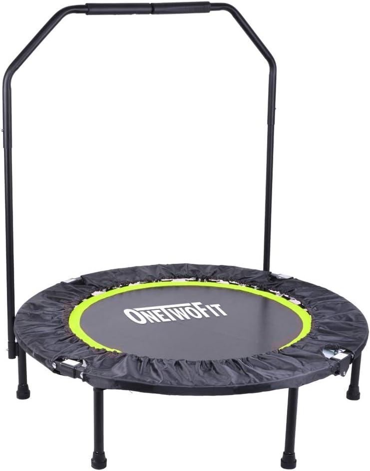 Capacidad de Peso: 150 kg Trampol/ín Plegable Peque/ño Fitness de 40 Pulgadas con Mango para Uso en Exteriores e Interiores Adecuado para ni/ños Mayores de 8 a/ños y Adultos ONETWOFIT Trampol/ín