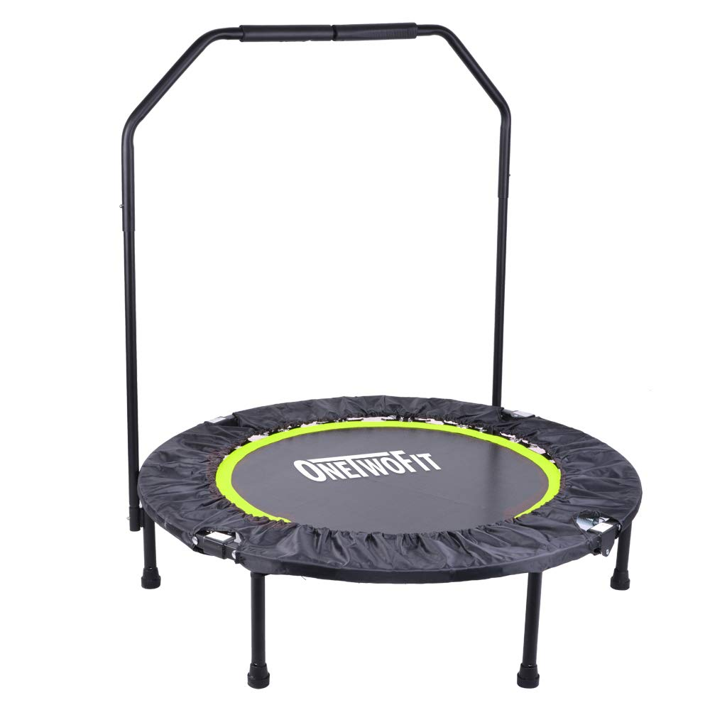 OneTwoFit 40'' Indoor Trampoline with Handrail,Foldable Fitness Trampoline for Adults,Rebounder Trampoline Exercise Trampoline for Indoor/Garden/Workout Cardio OT087