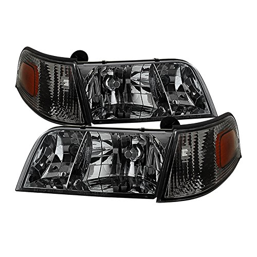 8-2011 Crown Victoria Smoke Tinted Replacement Headlights Left+Right Set (Ford Crown Victoria Headlight Switch)