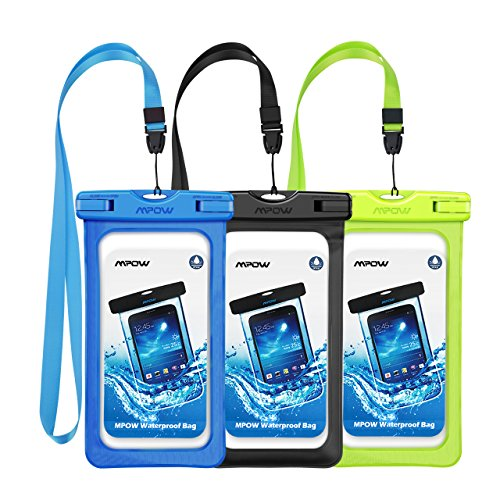 Mpow Waterproof Case, Universal IPX8 Waterproof Phone Pouch Underwater Protective Dry Bag Compatible iPhone XS Max/XS/XR/X//8/8P, Galaxy S9/S9P/, Google Pixel/HTC up to 6.0 (Black Green Blue)