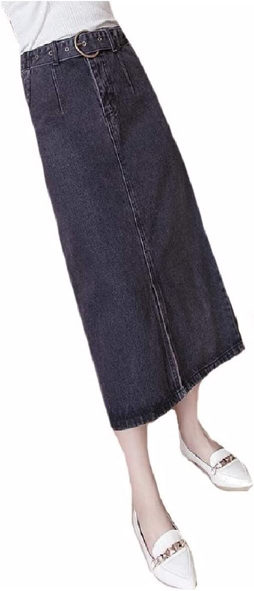 Coolred Women Belted Pencil Jeans Vintage Retro High-waisted Maxi Skirt